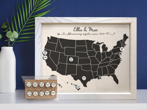 Cotton Map with Personalized Milestone Pins ... & 2-Year Anniversary Gifts for Him u2022 Personalized u0026 Meaningful