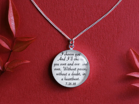 Custom Jewelry Set: Your Vows or Song on Cotton