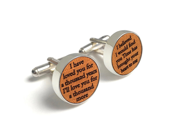 3 Year Anniversary Gifts For Him - Leather Cufflinks with Song
