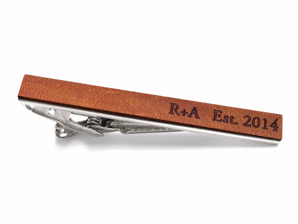 3 Year Anniversary Gifts For Him - Personalized Leather Tie Bar