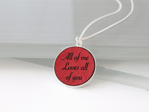 Personalized Red Leather Necklace