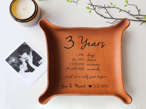 3 Years - Personalized Leather Tray