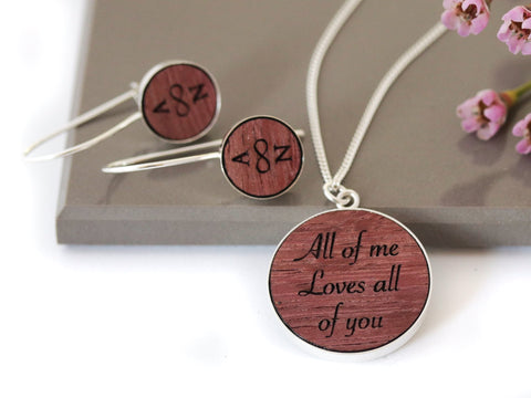 Purple Heart Wood Jewelry Set
