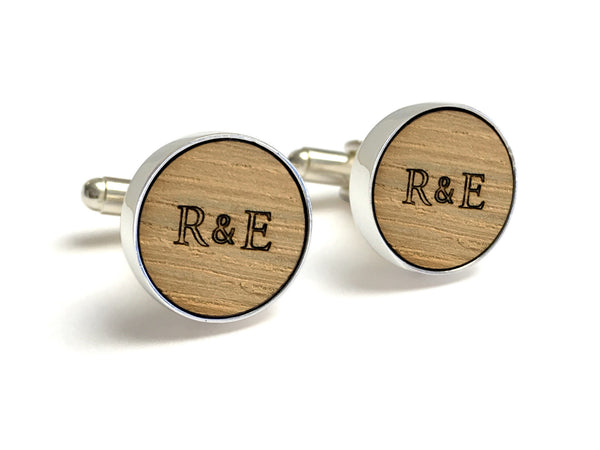 5-year anniversary gift for him - Whiskey Barrel Cufflinks With Initials