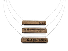 Engraved Wood Name Necklace