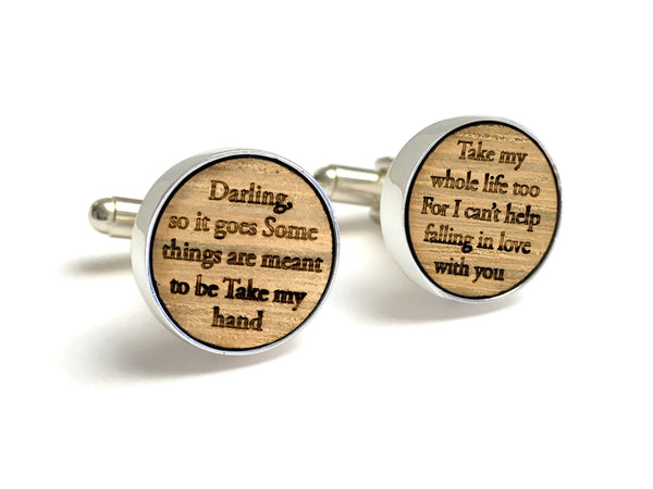 5th Anniversary Gifts For Him - Whiskey Wood Cufflinks With Wedding Song