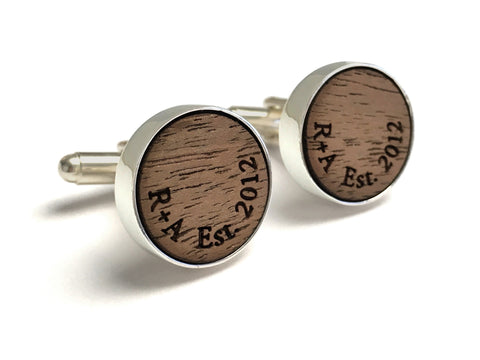 Walnut Cufflinks with Initials & Date