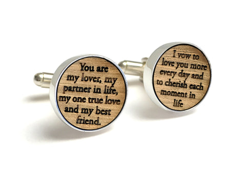 Whiskey Wood Cufflinks Engraved with Wedding Vows