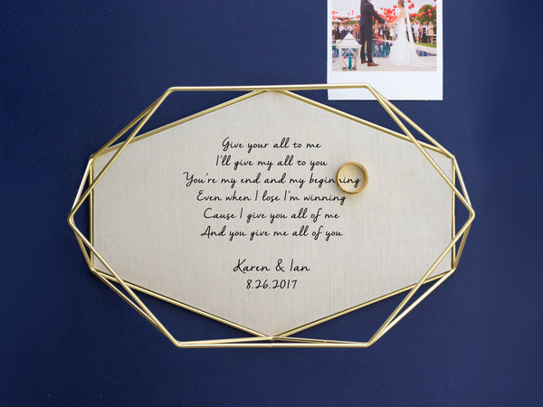 Linen Tray with Vows or Song