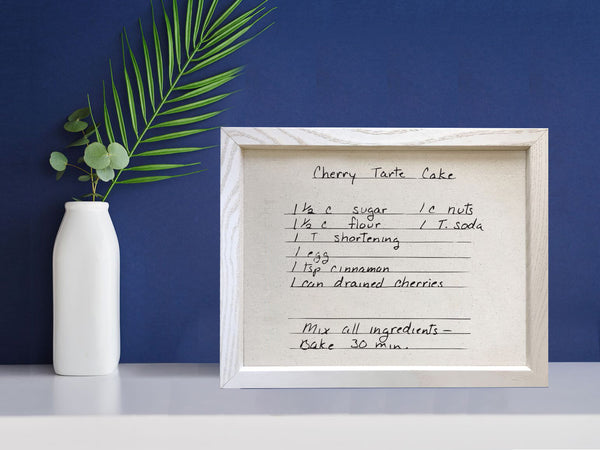 Framed Recipe on Linen