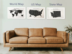 Custom Cotton Maps Hanging above sofa