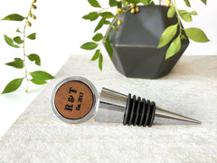 custom leather wine stopper
