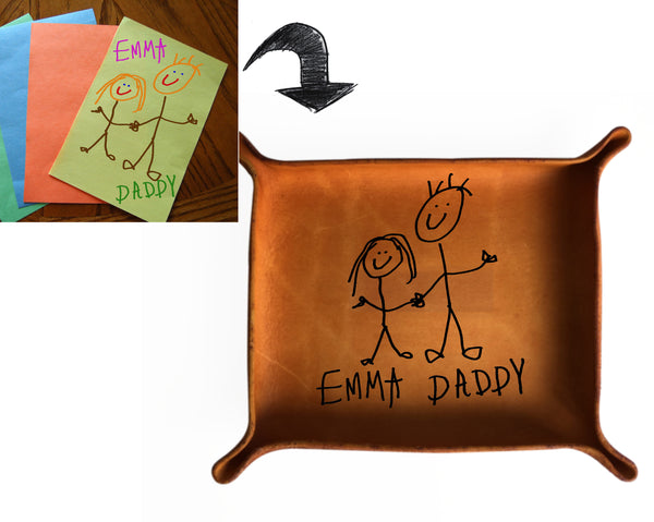 Leather Tray with Kids' Drawing