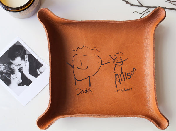Leather Tray with Kids Drawing