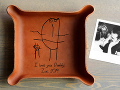 Leather Tray with Your Kids' Drawing
