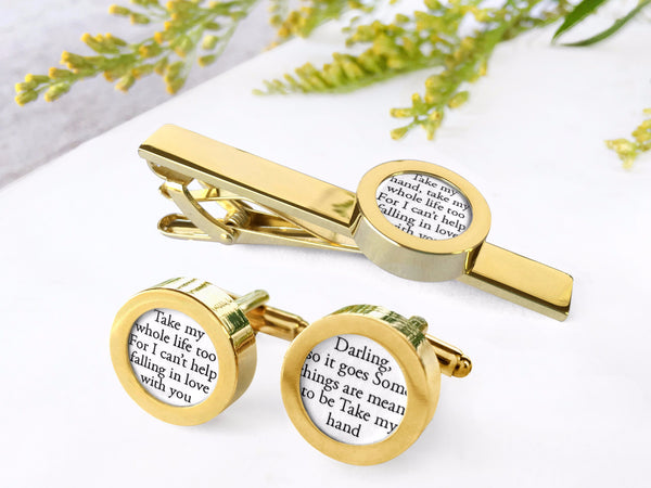 gold personalized cufflinks and tie clip