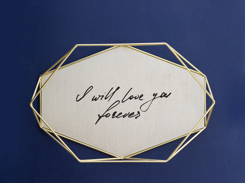 Brass & Linen Tray Featuring Handwriting