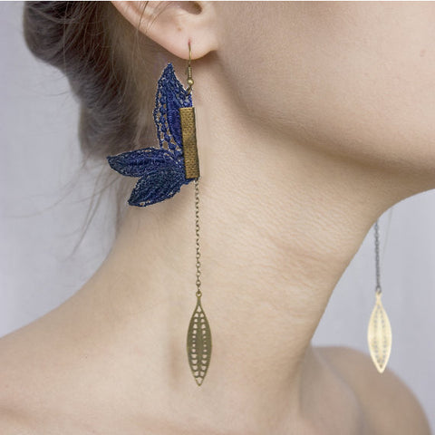 Lily Lace Earrings - Navy