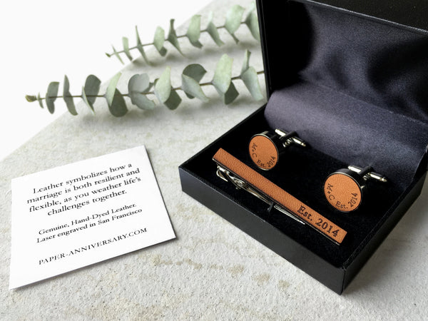 Leather Cufflinks with Vows or Song