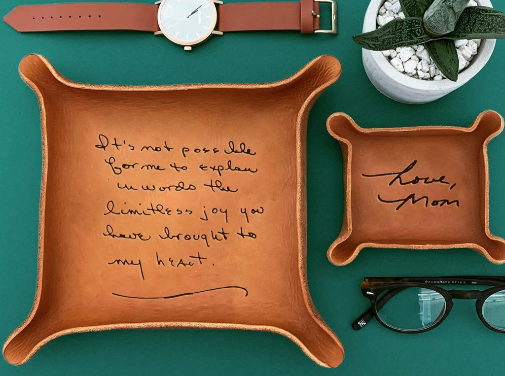 Leather Tray Engraved with Handwriting