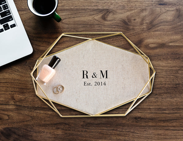 Personalized Cotton & Brass Tray
