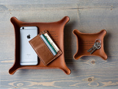 custom leather catchall trays
