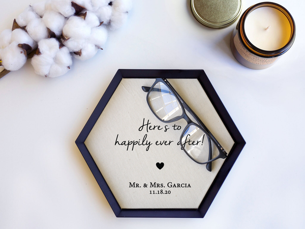"""Here's to Happily Ever After"" Brooklyn Tray"
