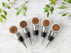 personalized leather wine stoppers