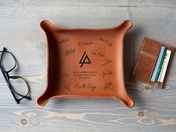 Corporate Leather Trays with Signatures