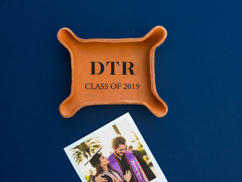 Monogrammed Leather Graduation Tray