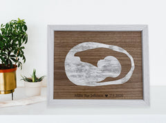 framed walnut wood sonogram