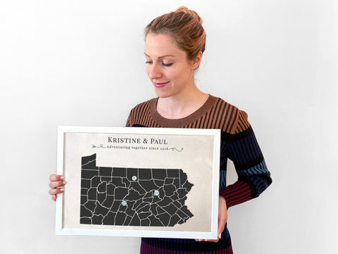 Cotton State Map with Personalized Pins