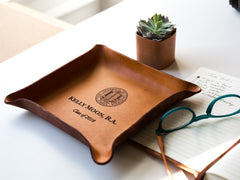 Personalized Leather Graduation Tray