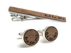 walnut wood cufflinks and tie clip