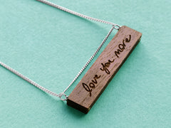 engraved wood handwriting necklace