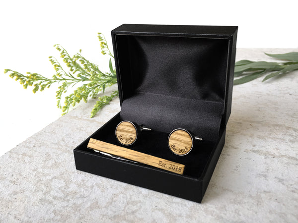 Monogrammed Whiskey Wood Cufflinks