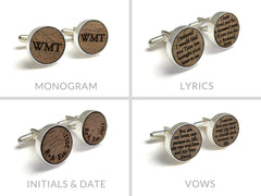 Monogrammed Walnut Wood Cufflinks