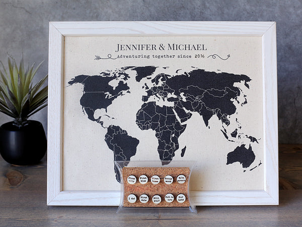 Adventuring Together- Linen Map with Personalized Pins