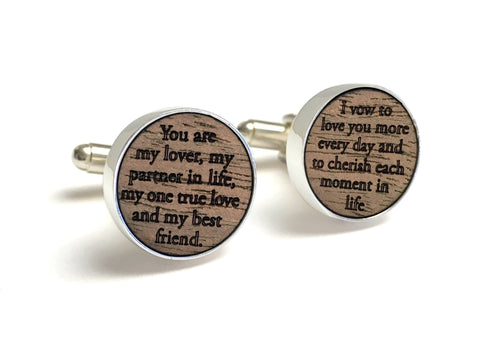 Wood Cufflinks Engraved with your Vows
