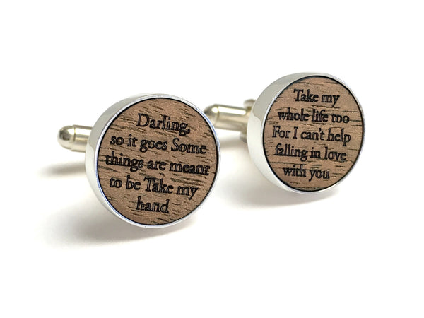 Wood Anniversary Gifts For Him - Wood Cufflinks Engraved With Wedding Song