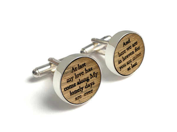 Wood Anniversary Gifts For Him - At Last Lyrics Cufflinks