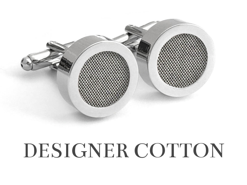 Paris Grey Cotton Cufflinks