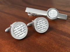Cufflinks For Him - Gift Set With Vows Or Wedding Song