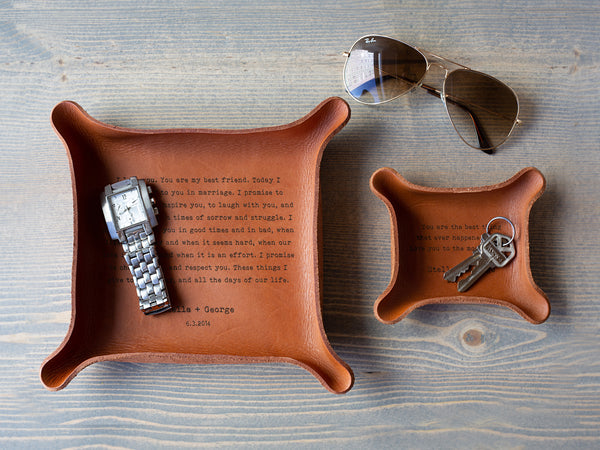personalized leather catchall trays