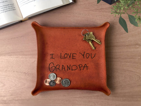 Leather Tray with Your Kid's Handwriting