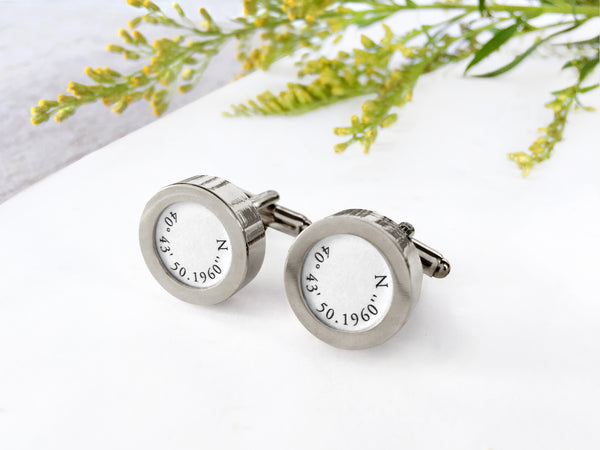 custom cufflinks with coordinates