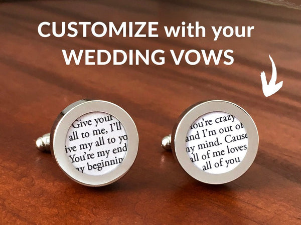 Wedding Gift For Him: Cufflinks With Wedding Vows // Paper Anniversary By Anna V