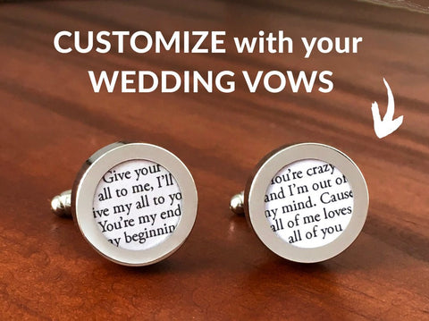 Custom Wedding Cufflinks with Vows or Song