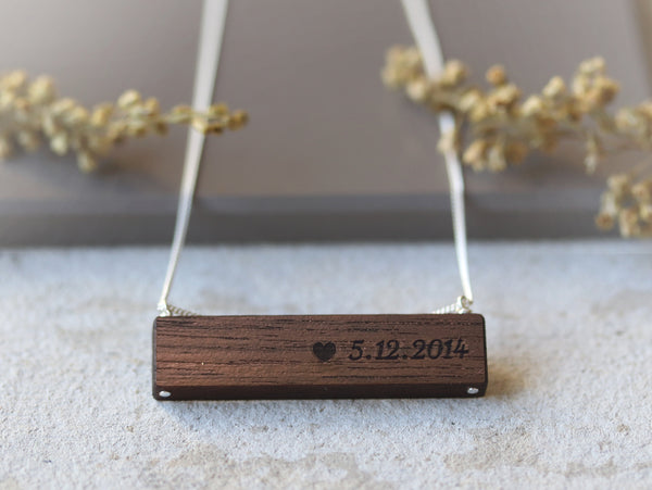 custom engraved necklace with date and heart