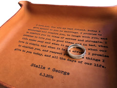 custom leather tray with vows or song